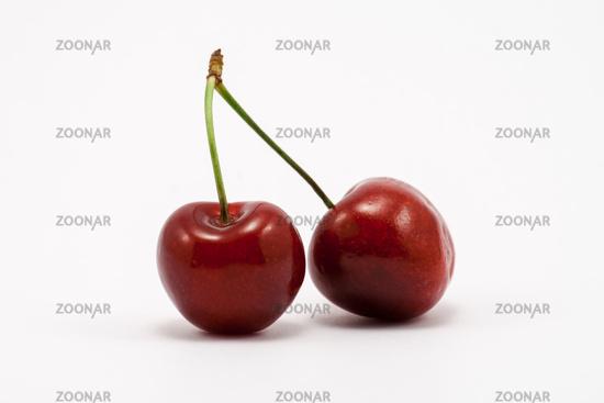 Two juicy ruby red cherries