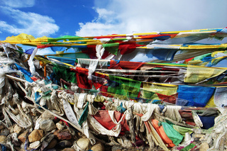 Colorful prayer flags in the highlands of Tibet