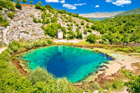 Cetina river source water hole green landscape view