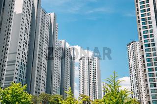 Modern apartment building exterior in Korea