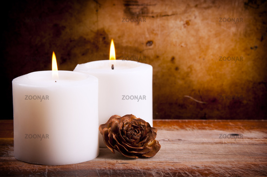 White Candles with Rose
