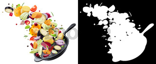 Different vegetables falling into frying pan on white background