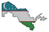 Karte und Fahne von Usbekistan auf Filz - Map and flag of Uzbekistan on felt