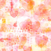 Seamless pattern of watercolor hearts on a pastel patchwork print