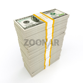 US dollars banknotes money stack on white
