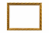 golden retro picture frame isolated