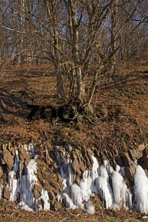 Natürliche Eisskulpturen an winterlicher Landschaft