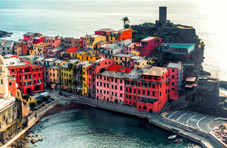 Aerial view of Vernazza - small italian town in famous Cinque Terre on Mediterranean Sea in Liguria, Italy.
