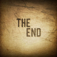 Old cinema phrase (The End...), grunge background