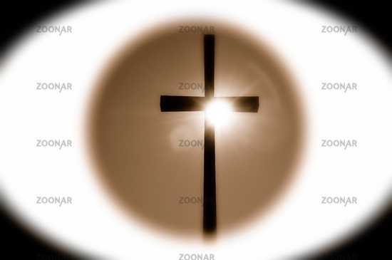 in the center of the cross sepia
