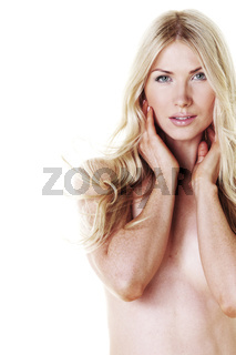 nude woman isolated on white