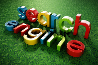 Search engine text standing on green PCB texture. 3D illustration