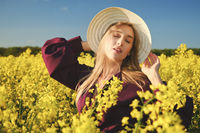 woman in a blooming field