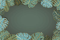 Lot of cute green palm leaves with golden outline, modern fashion faded background with textspace