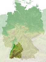 Baden-Wuerttemberg - topographical relief map