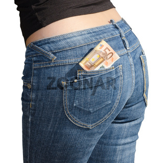 Fifty euro banknotes in jeans back pocket