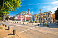 Town of Lecco on Como Lake central square and church view