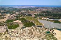 Drone point of view La Vega Baja del Segura agricultural fields. Spain