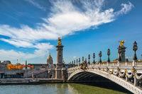 Paris France, city skyline at Seine River Pont Alexandre III bridge and Esplanade des Invalides with autumn foliage season