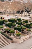 Barcelona, Spain - 15 December 2019: The magic fountain of Montjuic, on the hill of Montjuic in Barcelona, Spain
