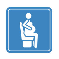 Sitting pregnant woman detailed blue icon for public transport isolated on the white
