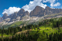 View of Catinaccio group from Karersee, Dolomites, South Tyrol