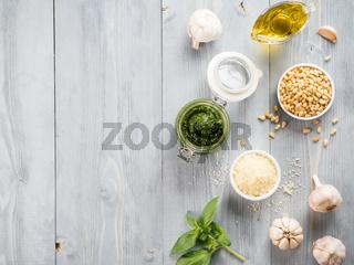 Homemade basil pesto sauce ingredients