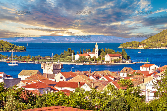 Scenic island of Vis waterfront view