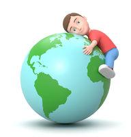 Hug the Earth. 3D Cartoon Character Illustration