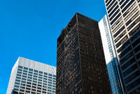 Seagram Building in New York. Low angle view against sky