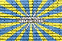 flag of Russian Air Force painted on brick wall