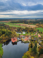 Castle Cervena Lhota in Czech Republic - aerial view