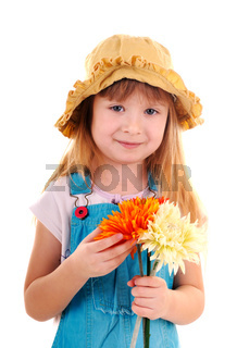 Small girl with flowers
