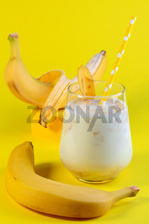 Healthy banana drink with oatmeal milk.