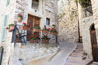 Assisi village in Umbria region, Italy. The town is famous for the most important Italian Basilica dedicated to St. Francis - San Francesco.