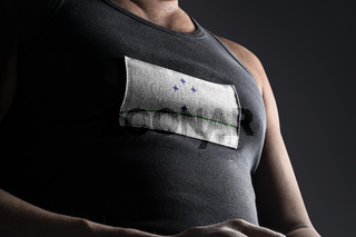 The national flag of Mercosur on the athlete's chest
