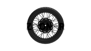 3D rendering of a motorcycle wheel with spokes isolated on a white background