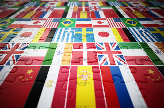 Country flags on jigsaw puzzle pieces. 3D illustration