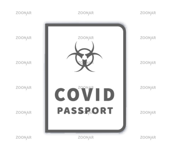 COVID-19 vaccination passport with biohazard simple icon on white