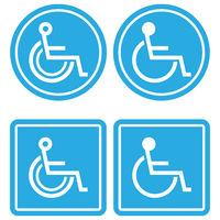 Wheelchair Blue Icon Set Isolated on White Background