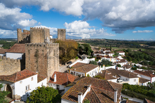 Obidos beautiful village castle stronghold fort tower in Portugal