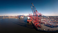 Aerial view of a container terminal in Hamburg