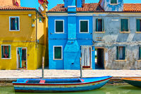 Houses by canal in Burano in Venice