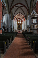Interior of medieval St. Nikolai church. Juterbog is a historic town in north-eastern Germany.