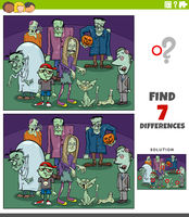differences educational game with cartoon zombies