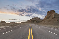 road through the wind erosion physiognomy in sunset
