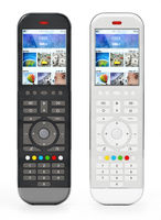 Generic modern smart TV remote controls with color display. 3D illustration