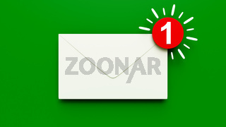 mail sign envelope icon with number one
