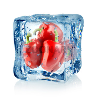 Ice cube and red peppers