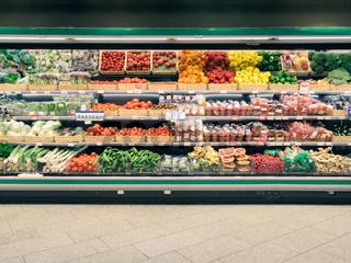 Fresh vegetables on shelf in supermarket